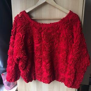 American Apparel 3D Mesh Rose Sweater